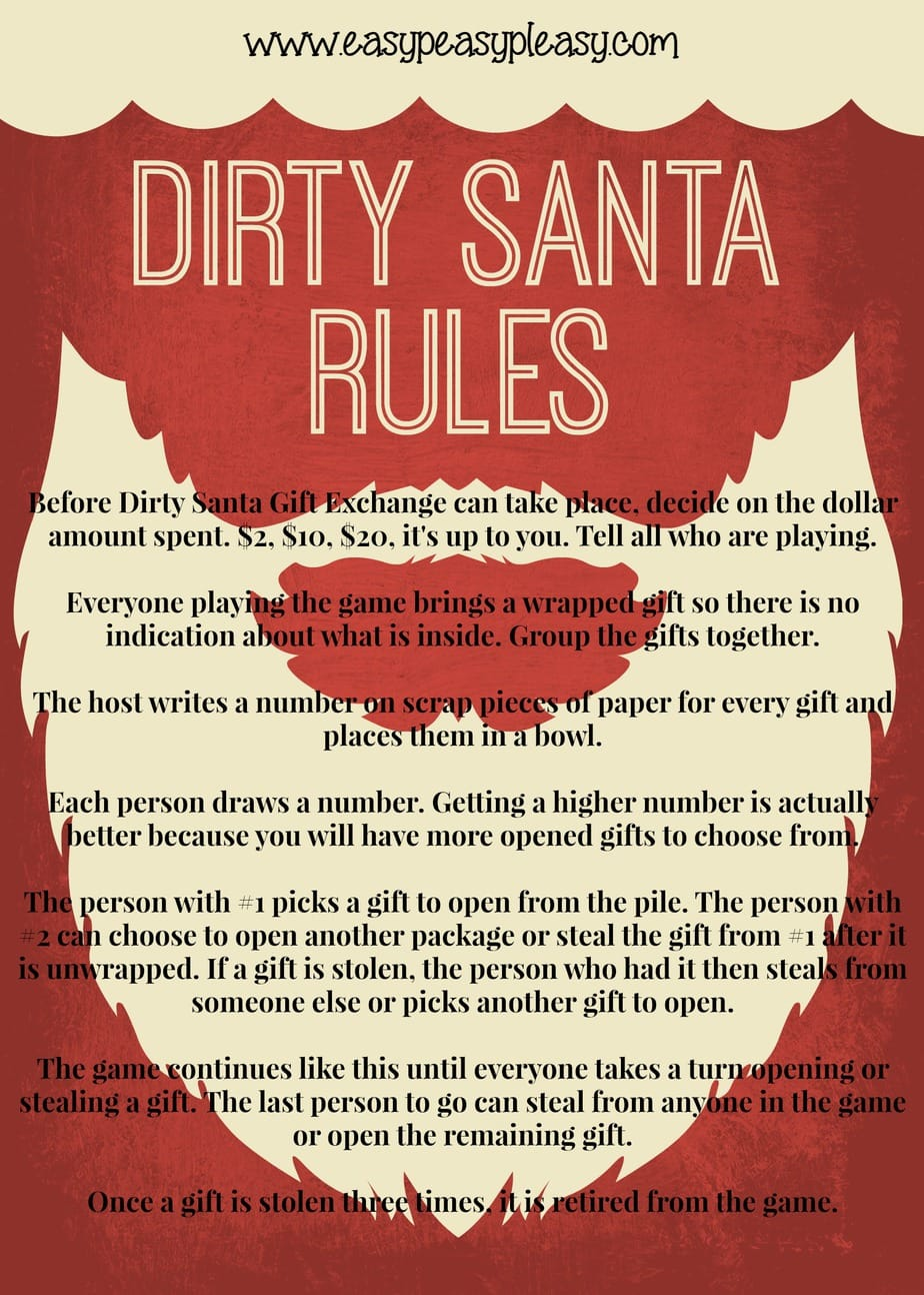 Dirty Santa Gift Exchange Rules at easypeasypleasy.com