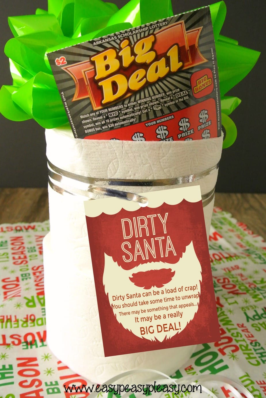 Dirty Santa Gift Idea with free printable gift tags incorporating Arkansas Scholarship Scratch Off Lottery Tickets.