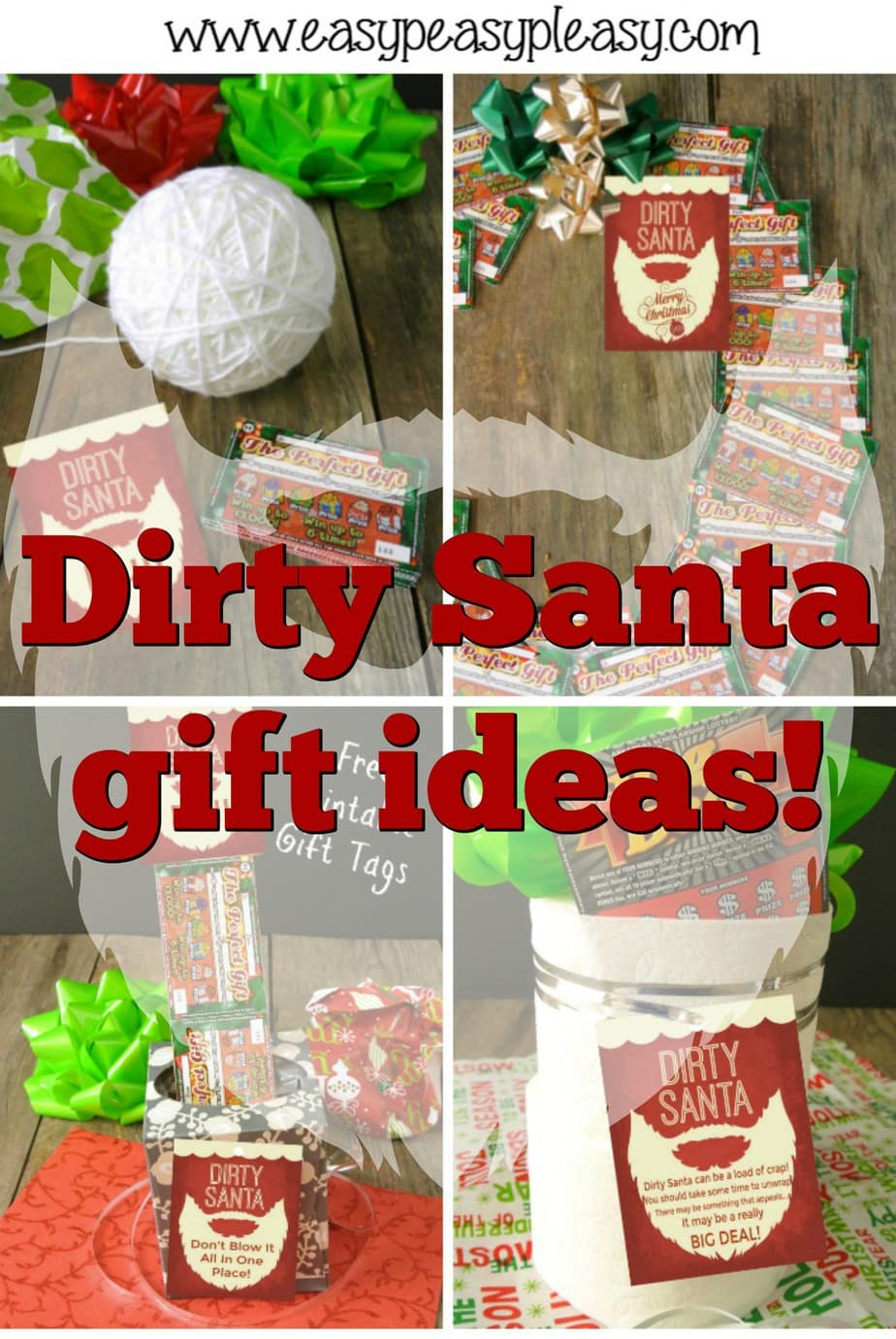 Dirty Santa Gift Ideas plus free printable gift tags. Lottery tickets make the perfect gift for a dirty Santa gift exchange. Free Printable Dirty Santa Rules.