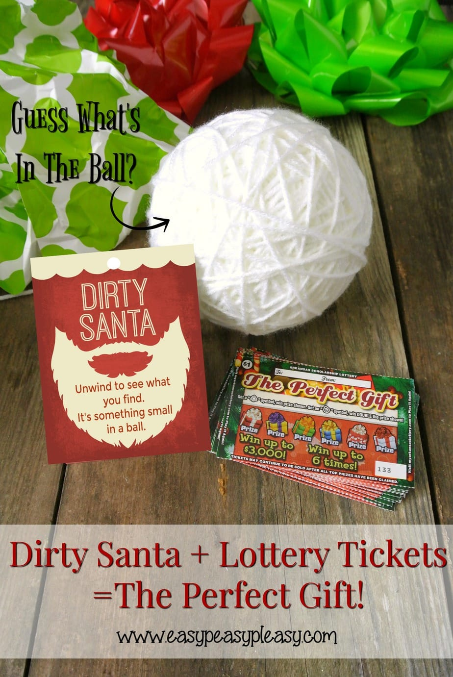 Dirty Santa Gift Ideas using Lottery Tickets plus free printable gifts tags to match!