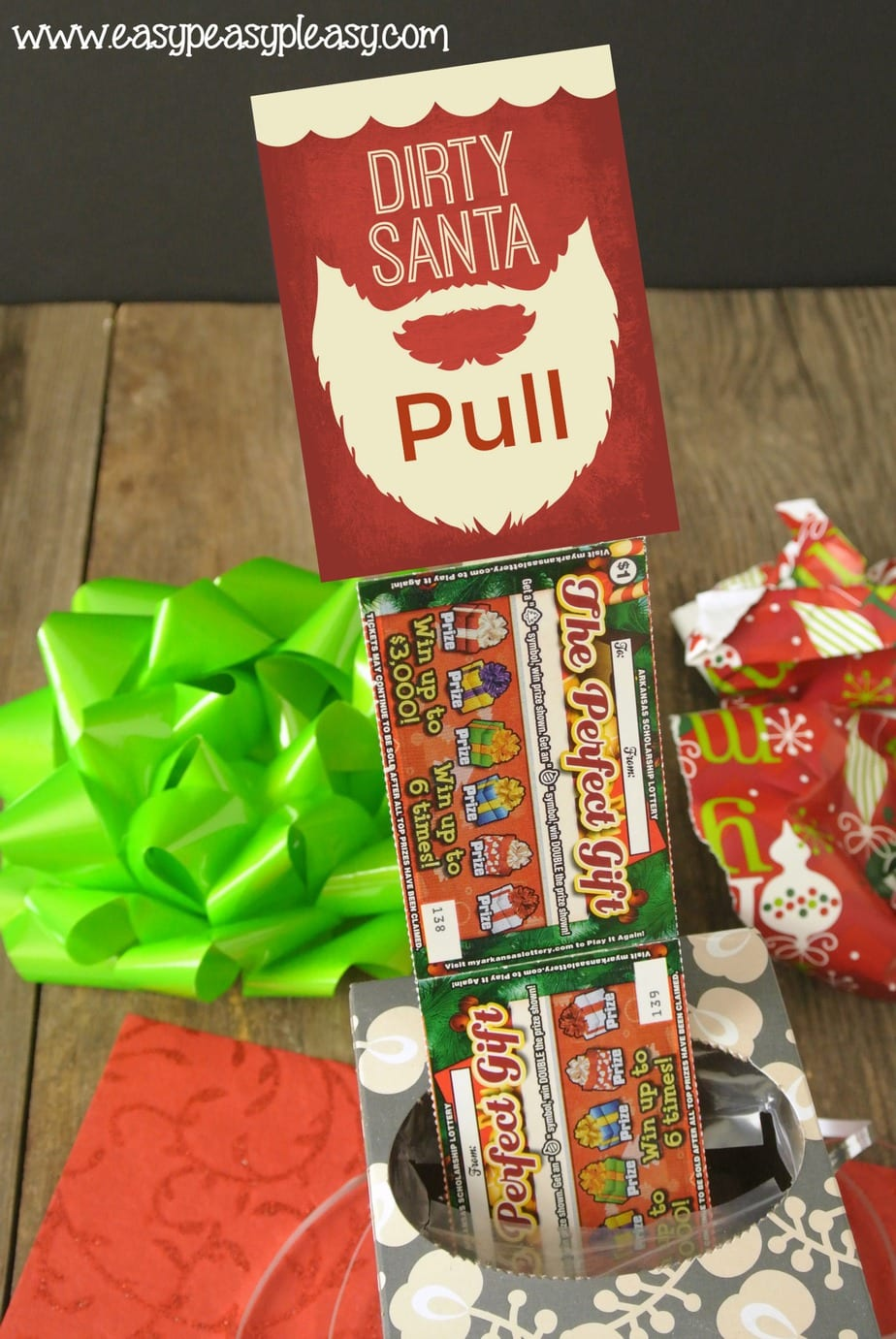 Dirty Santa Gift using Lottery Tickets and an empty box of tissue. Free printable gift tags.