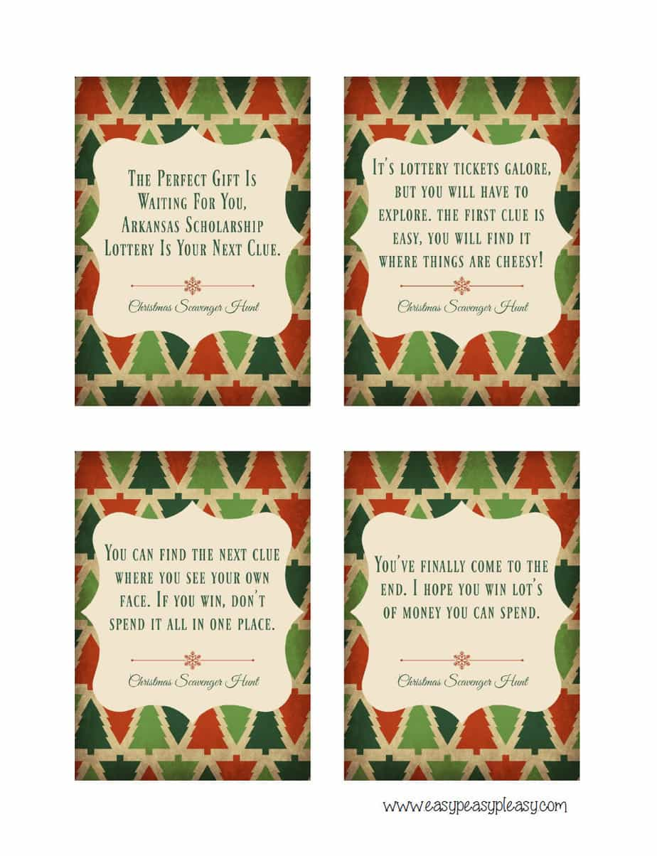 Free Printable Christmas Scavenger Hunt Clues using lottery tickets.
