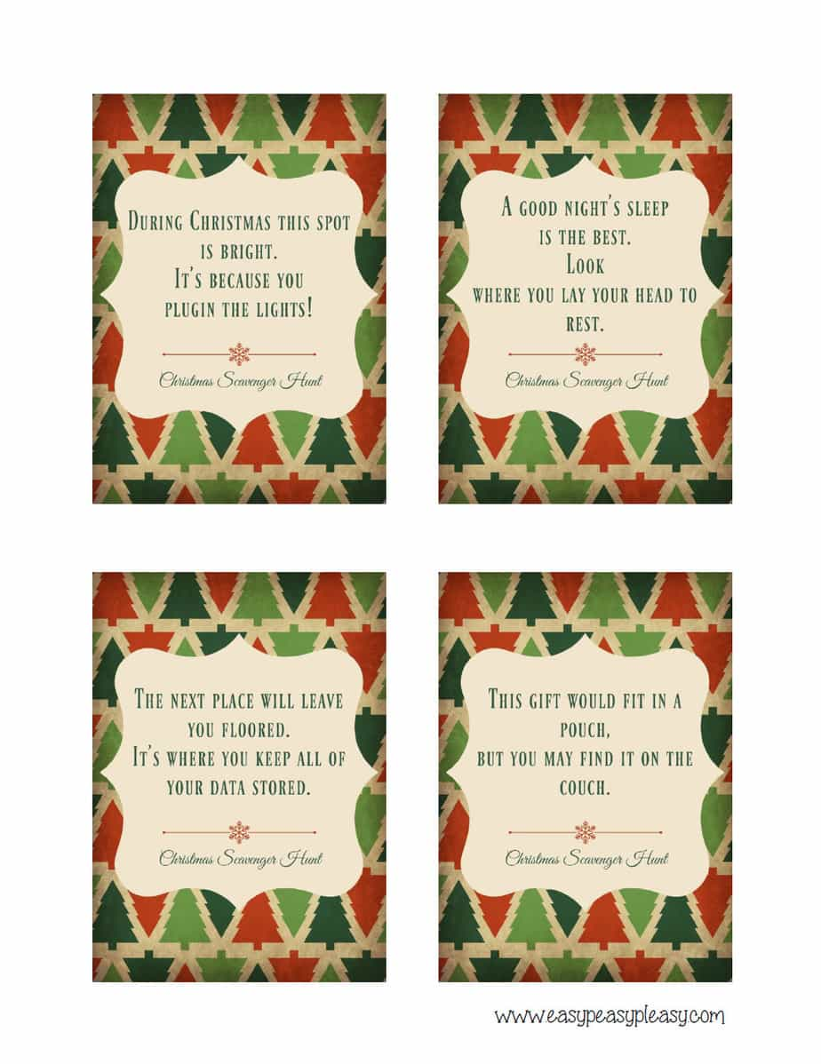 Free Printable Christmas Scavenger Hunt Clues.