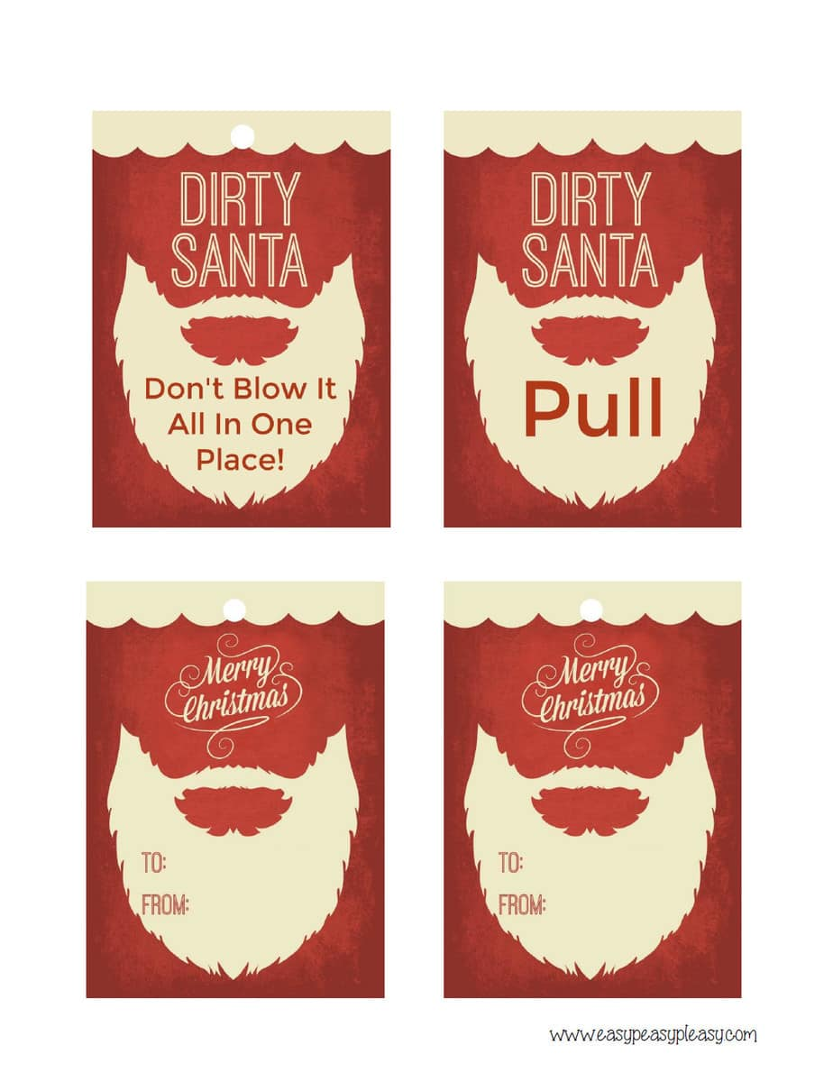 Free Printable Dirty Santa Gift Tag for tissue box.