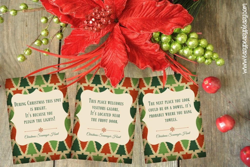 It is an image of Dynamic Christmas Scavenger Hunt Printable Clues