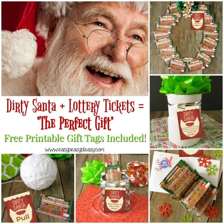 Get great Dirty Santa gift ideas using Lottery Tickets at easypeasypleasy.com. Free Printable Gift Tags Included.