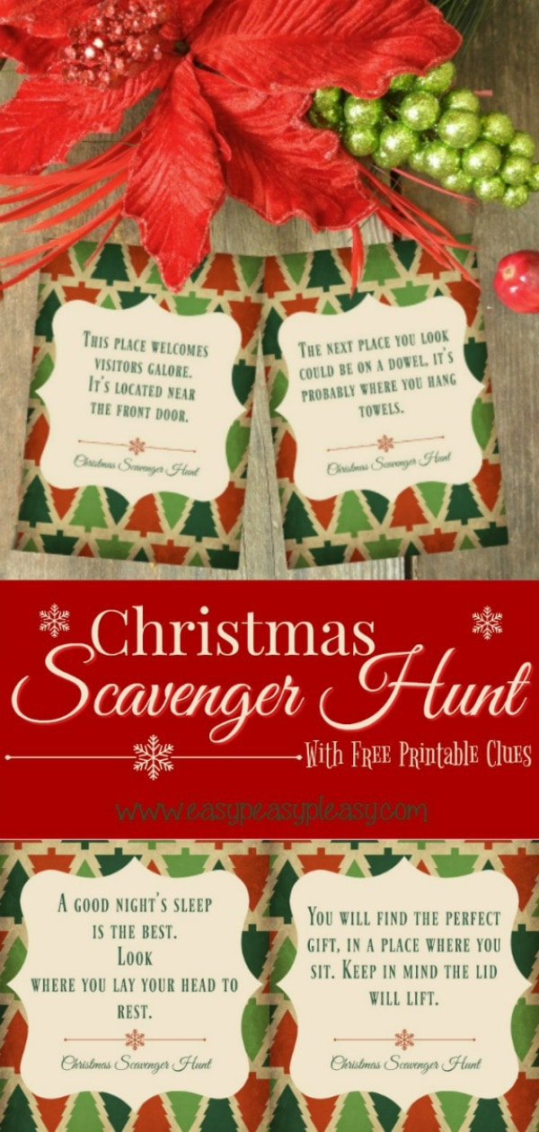 Have fun this holiday season playing a Christmas Scavenger Hunt with these Free Printable Clues! #christmasscavengerhunt #christmasgames #scavengerhunt #freeprintablescavengerhunt #freeprintablescavengerhuntclues
