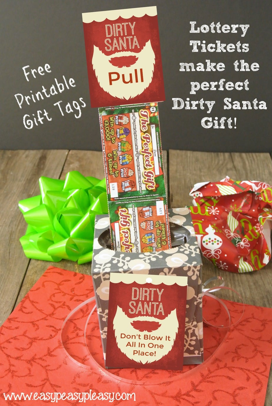 Lottery Tickets make the perfect Dirty Santa Gift. Someone will be mad when they open a box of tissue until they pull out lottery tickets. Free Printable Gift tags!