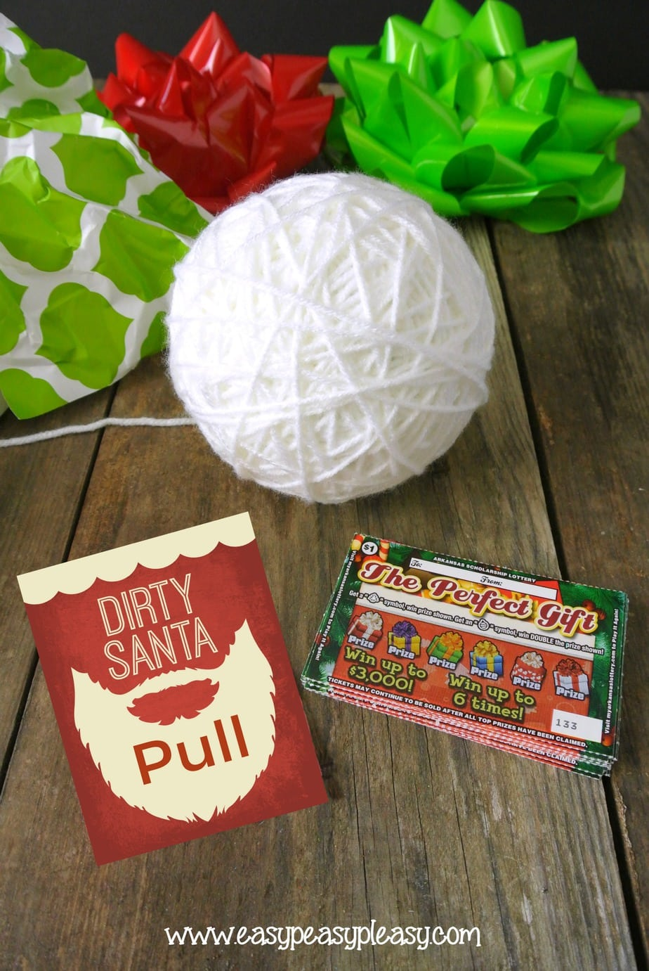Pull the string to find The Perfect Gift. Check out these Dirty Santa Gift Ideas using Lottery Tickets and get the free printable gift tags.