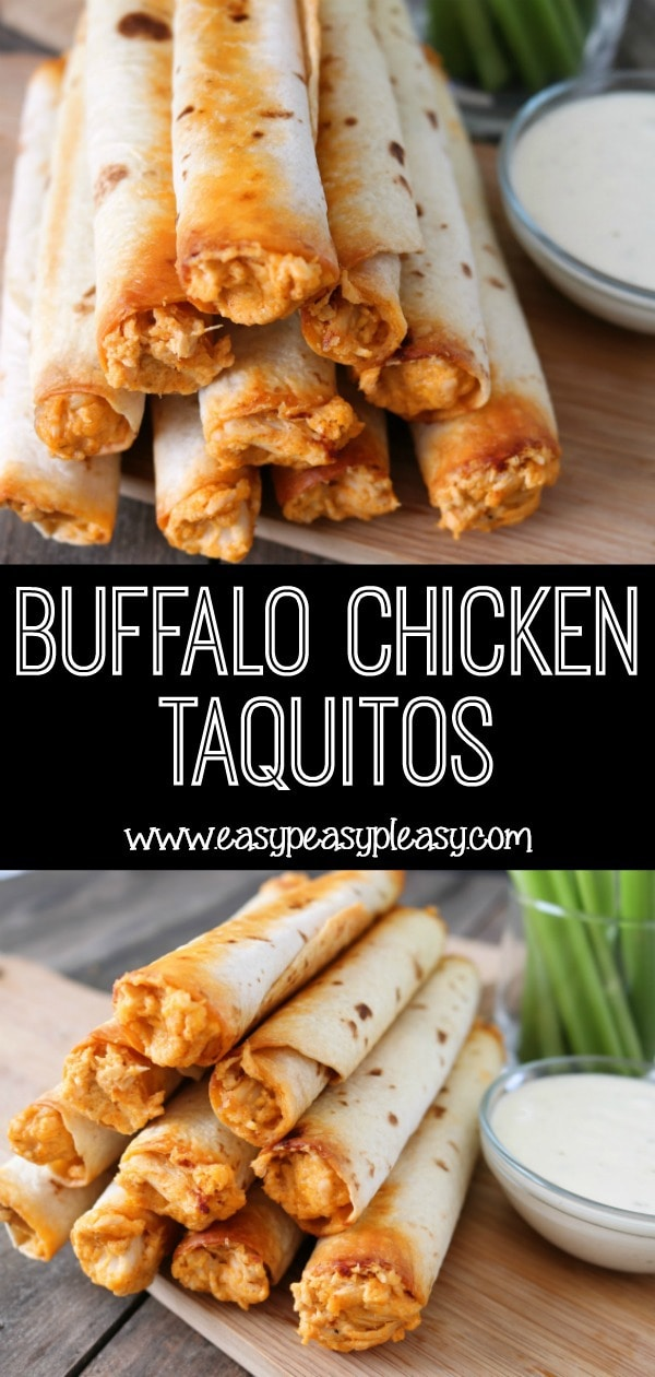 Buffalo Chicken Taquitos for the win! Score big with your family on a week night or anytime you need an appetizer. It's a sure crowd pleaser! #buffalochicken