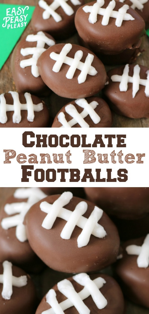 Chocolate Covered Peanut Butter Balls that look like Footballs. Perfect for gameday and tailgating. #peanutbutterballs #football #tailgatingfood #gamedayfood #5ingredients