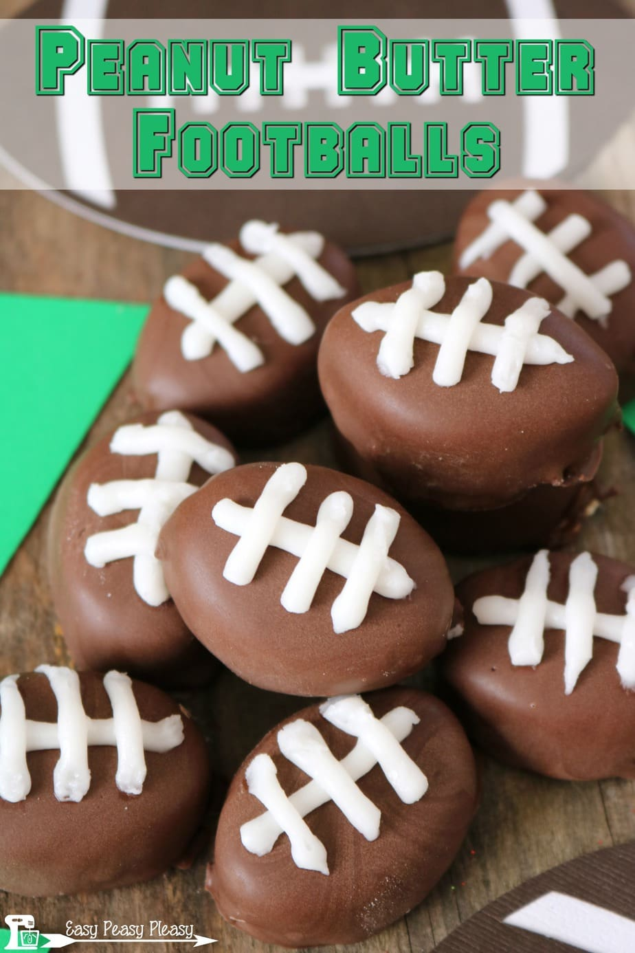 Easy Chocolate Covered Peanut Butter Balls are getting a makeover for the perfect game day and Super Bowl sweet treat!