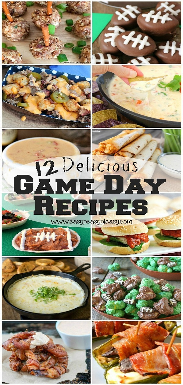 12 Delicious Game Day Recipes perfect for any football game. #gameday #gamedayrecipes #footballrecipes #partyfood #footballfood
