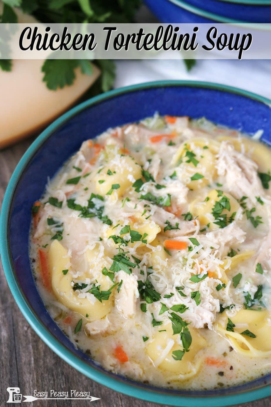 Mouthwatering Chicken Tortellini Soup using a rotisserie chicken.
