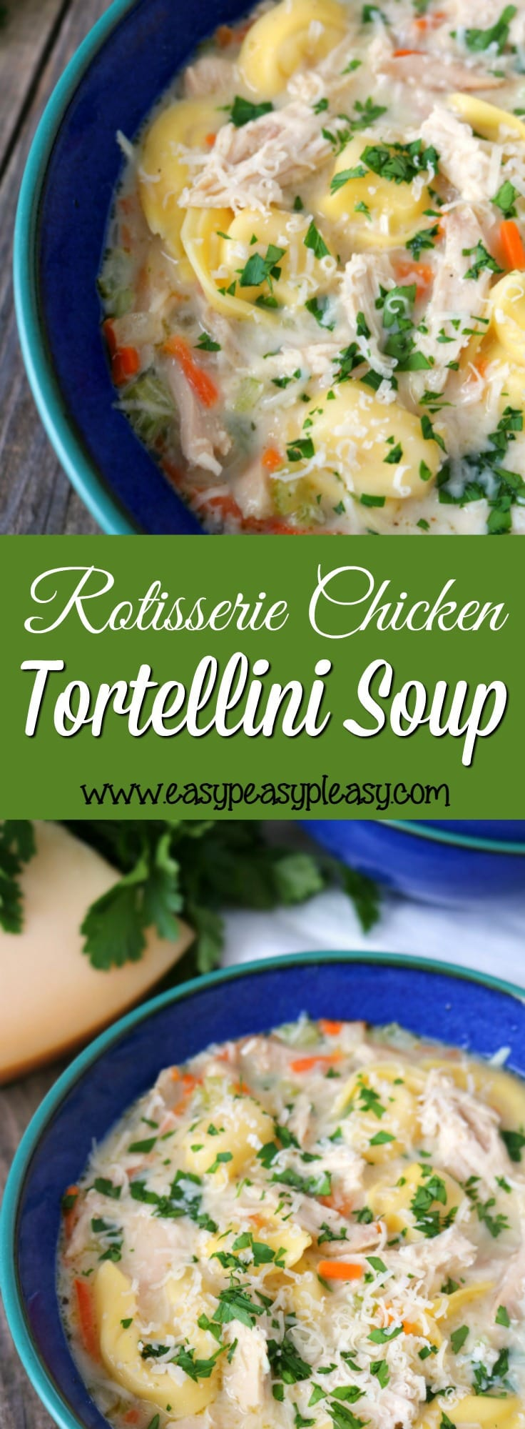 Mouthwatering Rotisserie Chicken Tortellini Soup will warm your tummy and warm your soul.