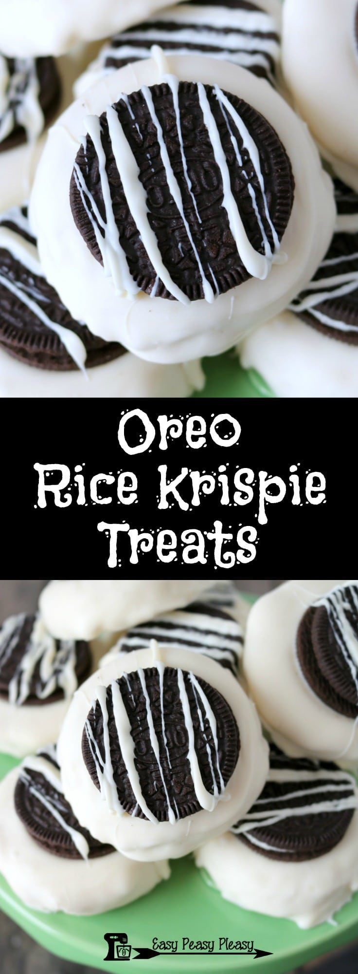 Easy 5 Ingredient Oreo Rice Krispie Treats.