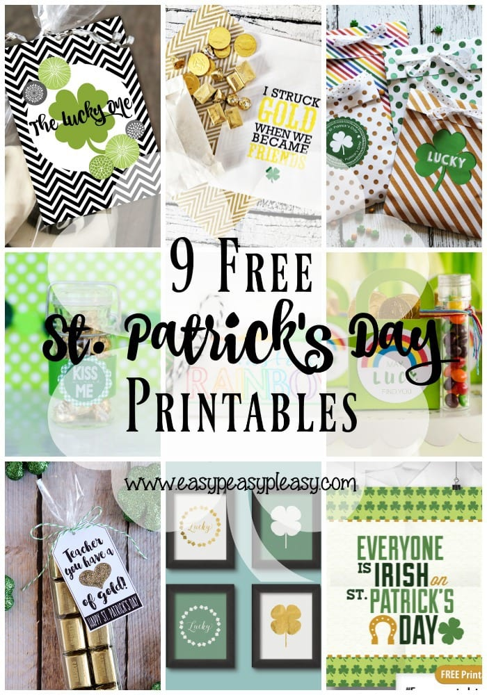 Make St. Patrick's Day easy with these 9 free St. Patrick's Day Printables.