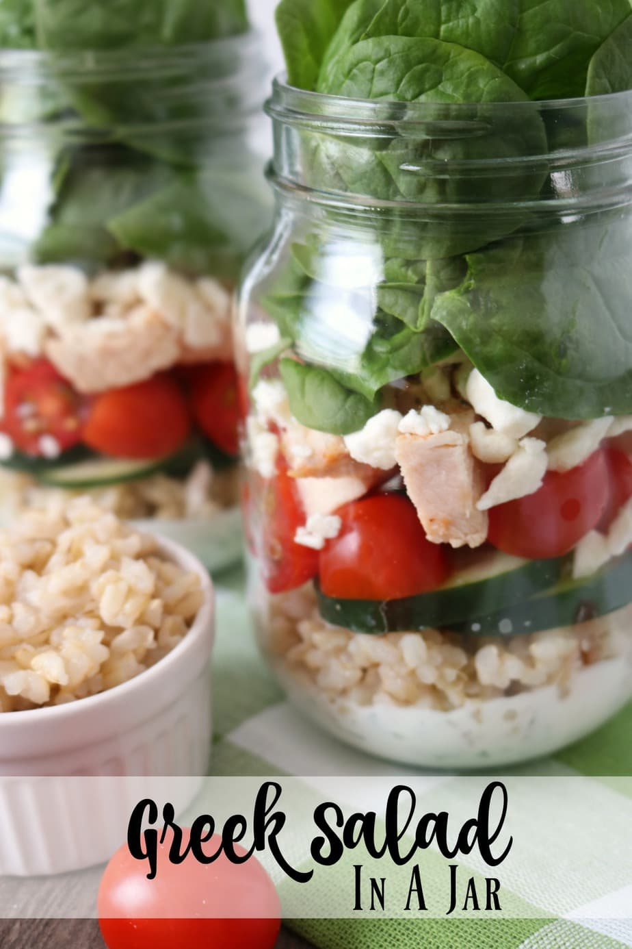 Greek Salad in a jar is the perfect skinny lunch meal prep idea.