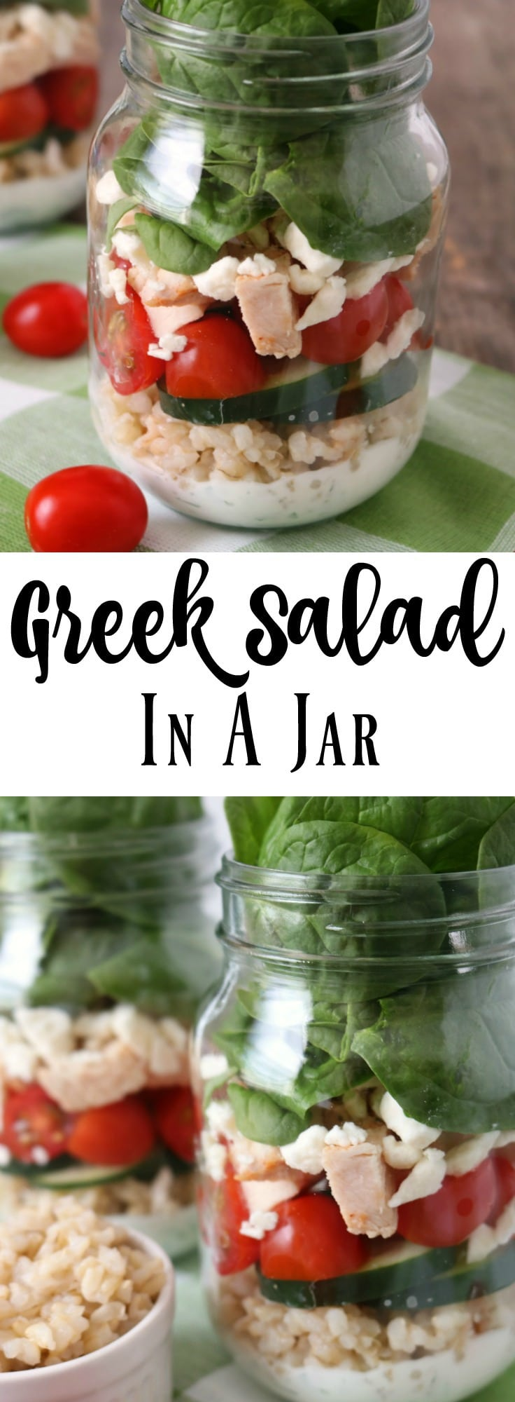 Make lunch meal prep easy and delicious with a Mason Jar and Salad. Try this Greek Salad in a jar recipe.
