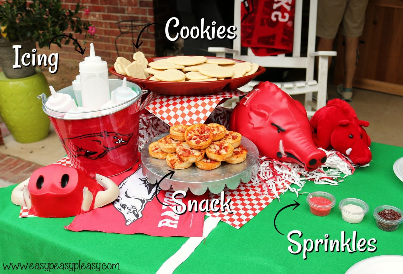 Cookie decorating station and snack for kids so you can watch the big game.