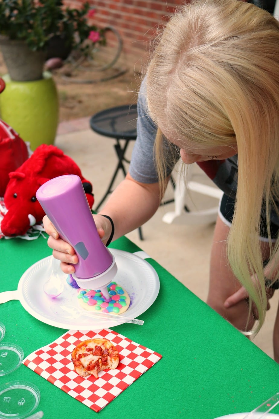 Pizza and Cookie Decorating are the perfect winning combo for game day with kids.