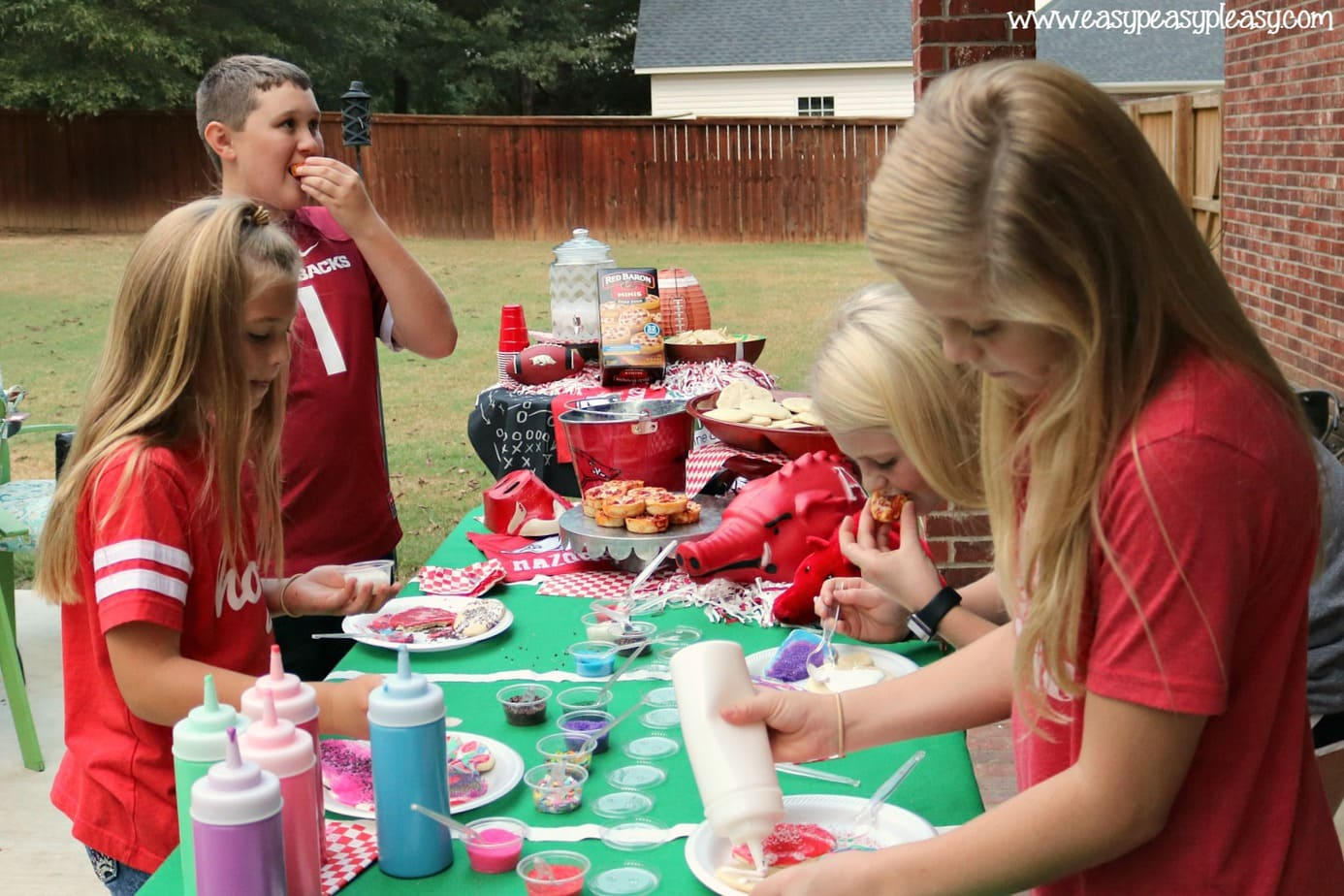 Pizza and cookie decorating for the win with kids on game day!