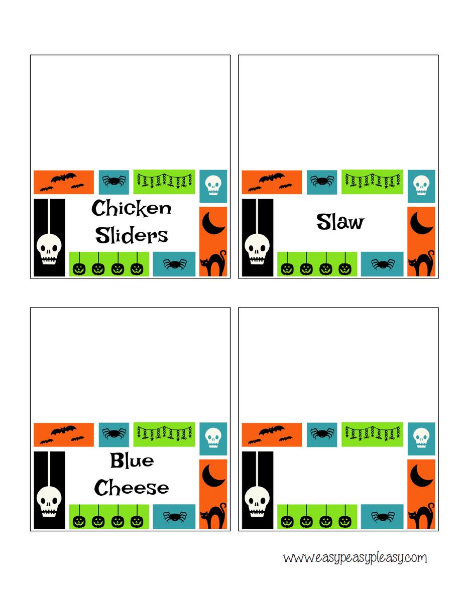 Chicken Slider Bar Tent Labels at www.easypeasypleasy.com