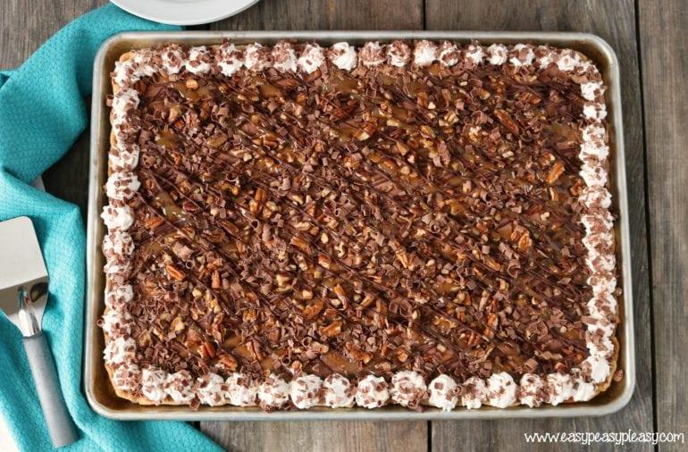 Chocolate Turtle Sheet Pan Pie