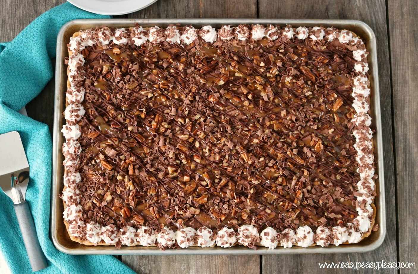 Chocolate Turtle Sheet Pan Pie