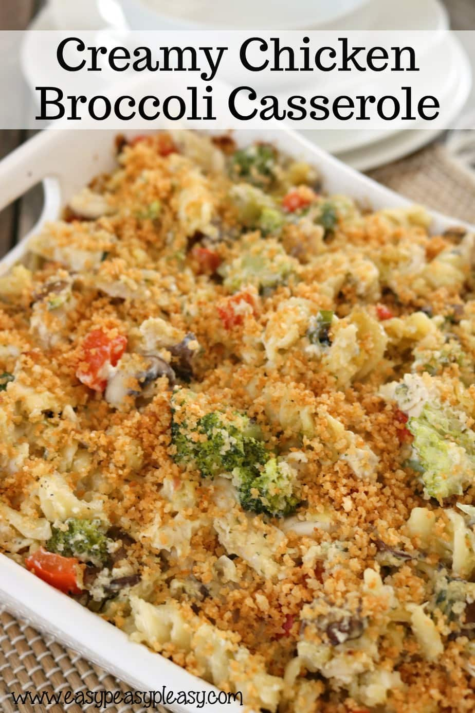 Creamy Chicken Broccoli Casserole is perfect for potlucks, dinner with leftovers and really great for family gatherings.