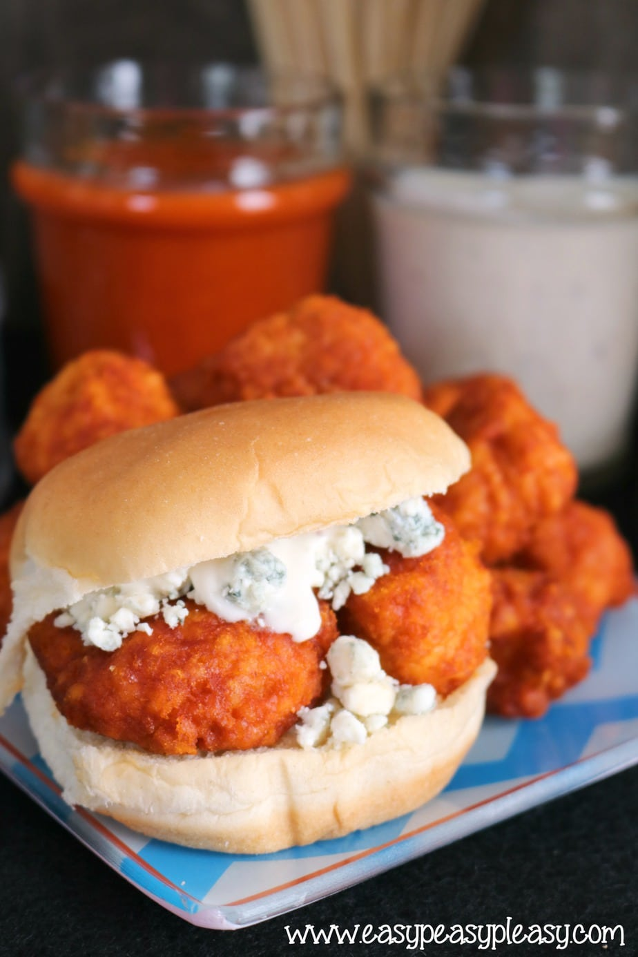 Easy Buffalo Chicken Slider using only 4 ingredients.