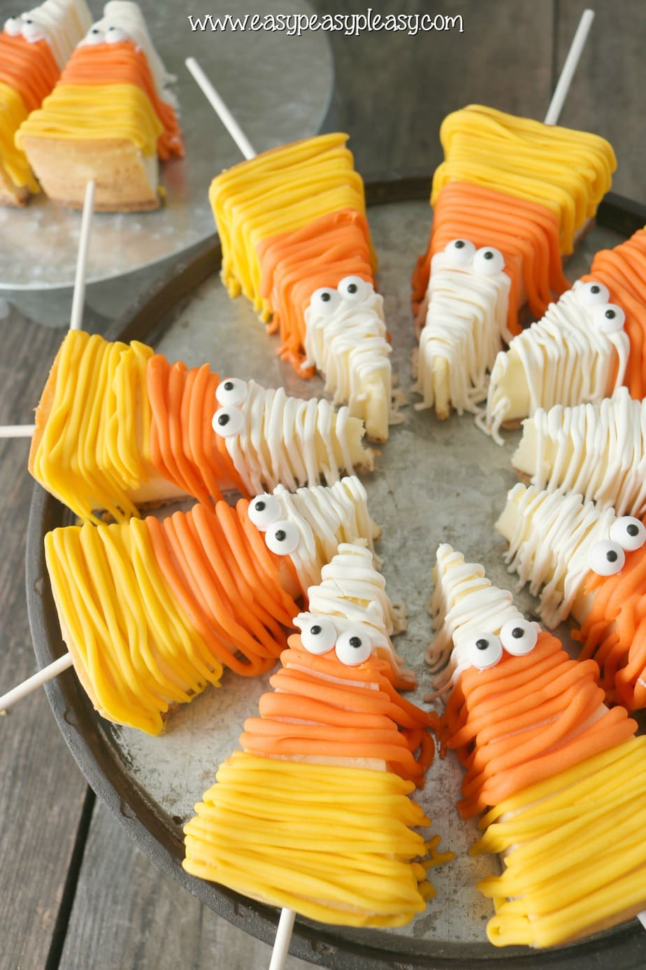 Easy No Bake Candy Corn Cheesecake are the perfect sweet treats for Halloween!
