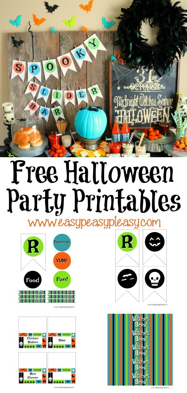 Free Halloween Party Printables perfect for a spooky slider bar including drink labels and food labels. #freeprintables #halloweenparty #sliderbar
