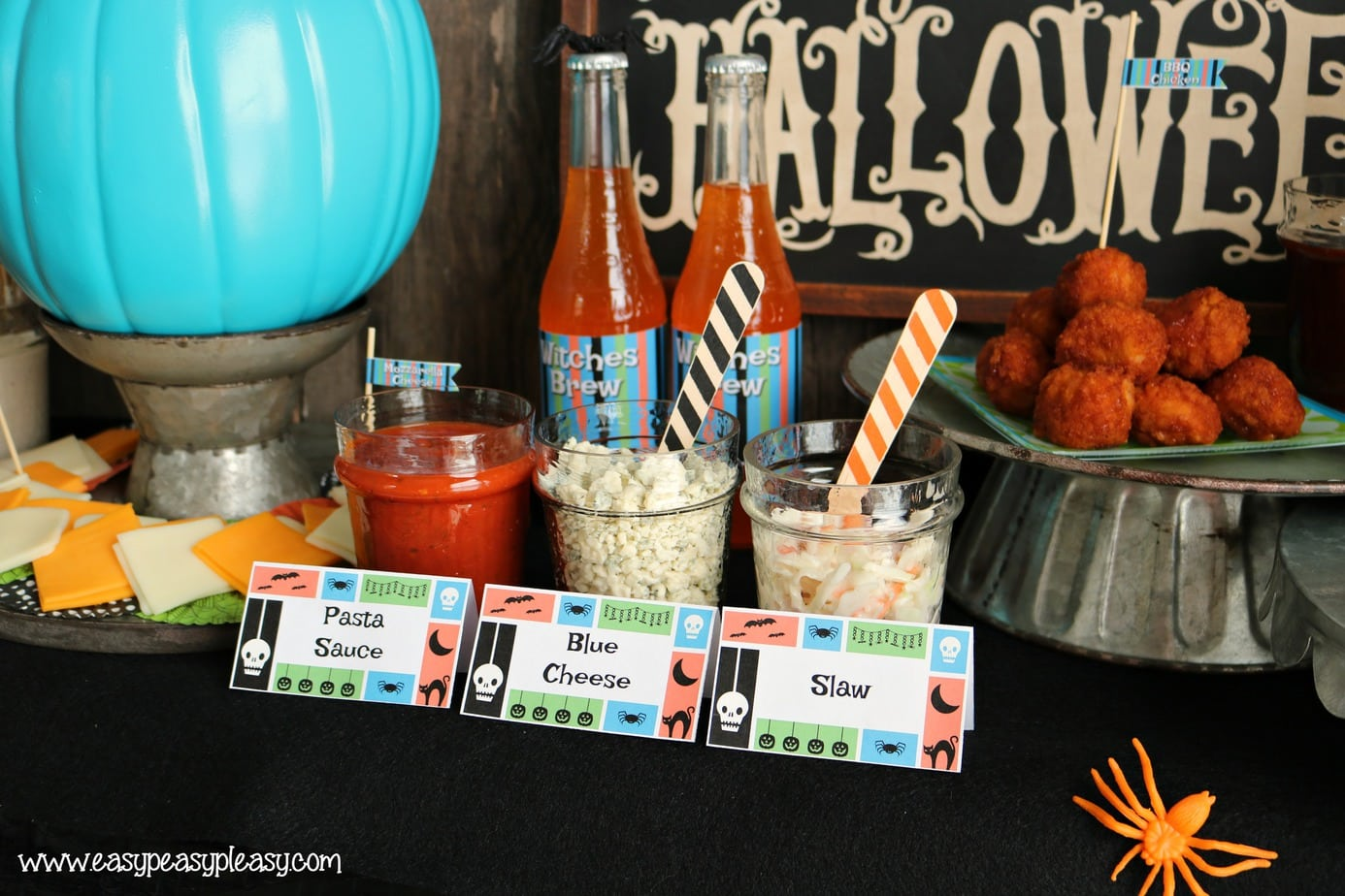 Free Printable Spooky Chicken Slider Bar Tent Labels.