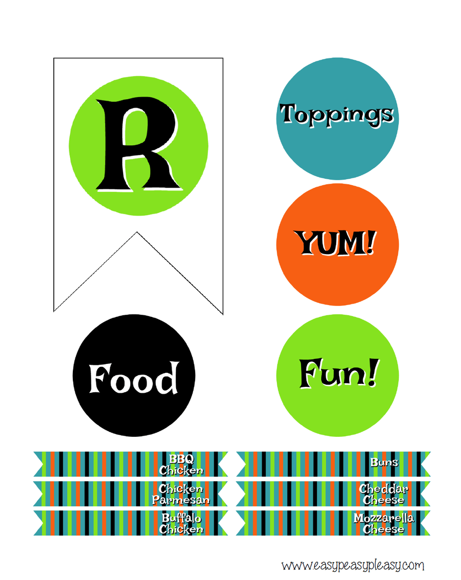 R and toothpick labels for banner and bar. Free Halloween Chicken Slider Bar Printables.