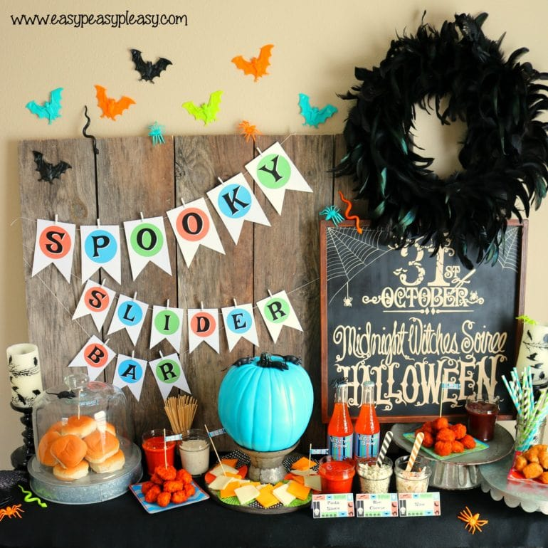 Spooky Chicken Slider Bar with free Halloween printables. easypeasypleasy.com