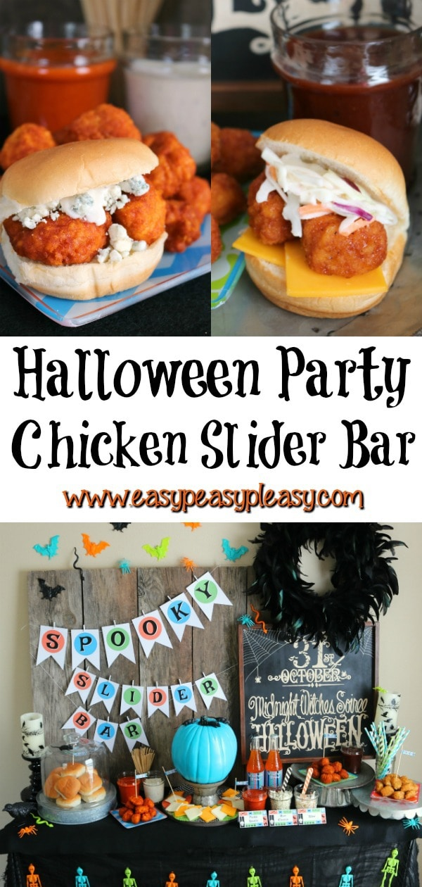Super Easy Chicken Sliders perfect for your Halloween party. #halloween #sliderbar #chickensliders #halloweenparty
