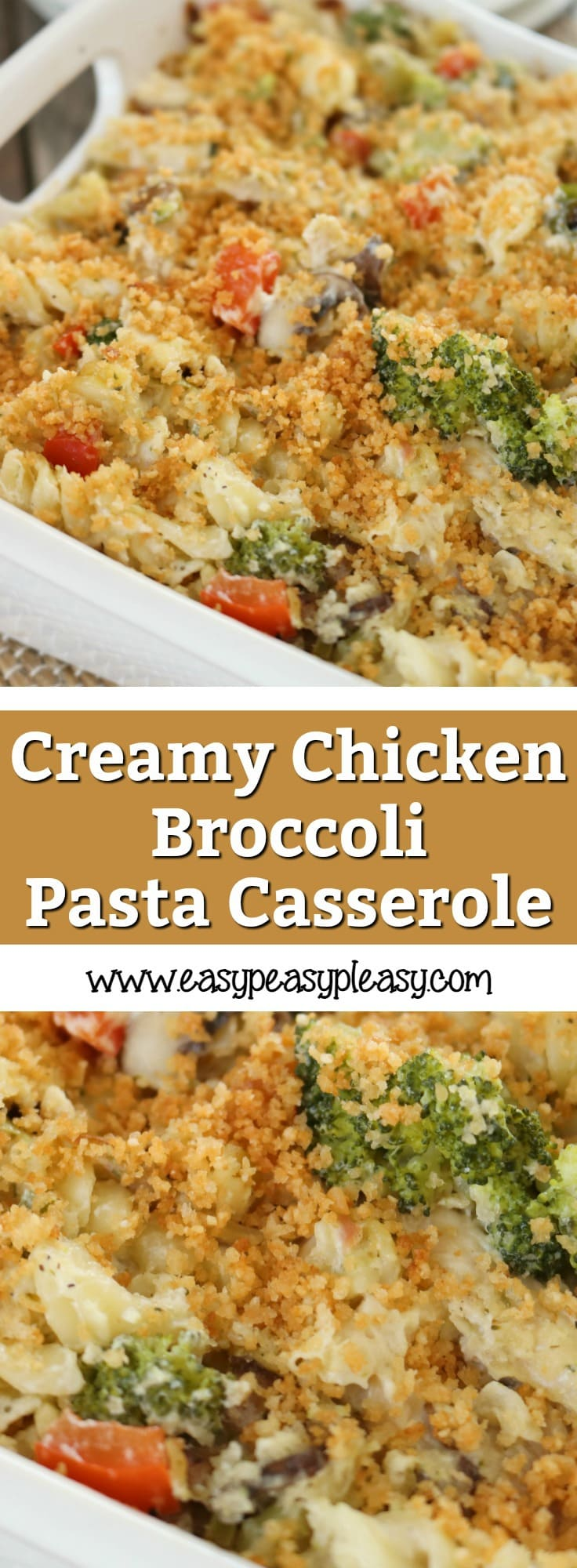 This Creamy Chicken Broccoli Casserole is the perfect addition to any potluck, family gathering, or reheated for a weeknight dinner.