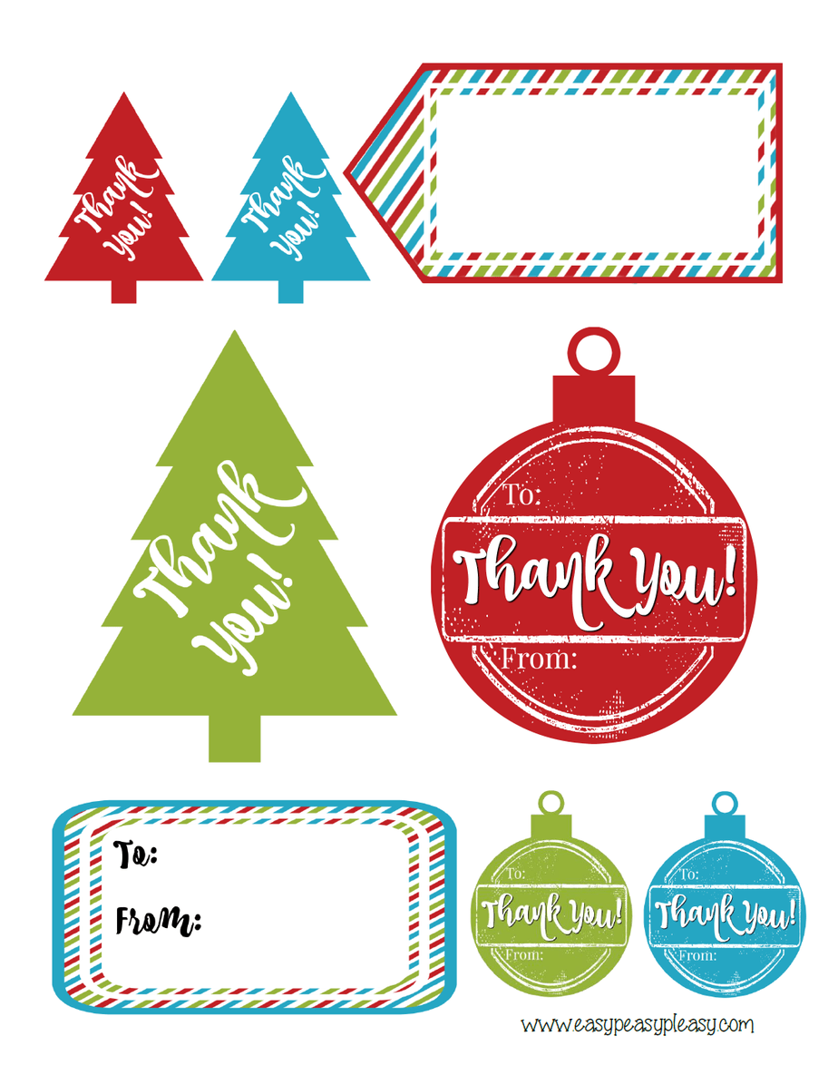 photograph regarding Thank You Gift Tags Printable named Cost-free Printable Getaway Hostess Reward Tags - Uncomplicated Peasy Pleasy