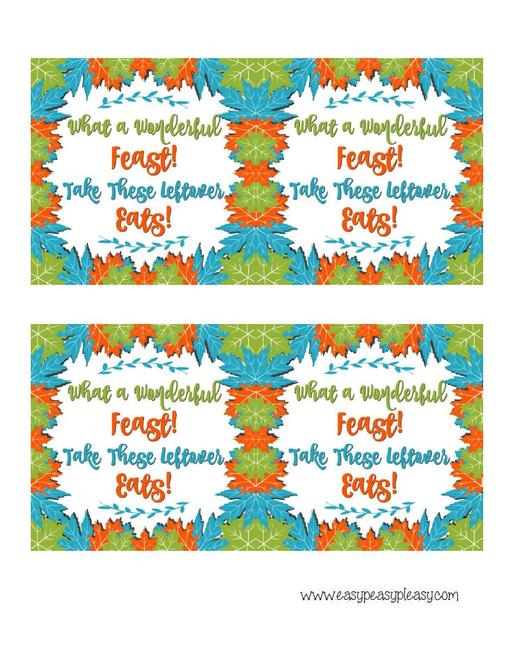 Free Printable Thanksgiving Leftover Gift Tags are the perfect way to send leftovers home.