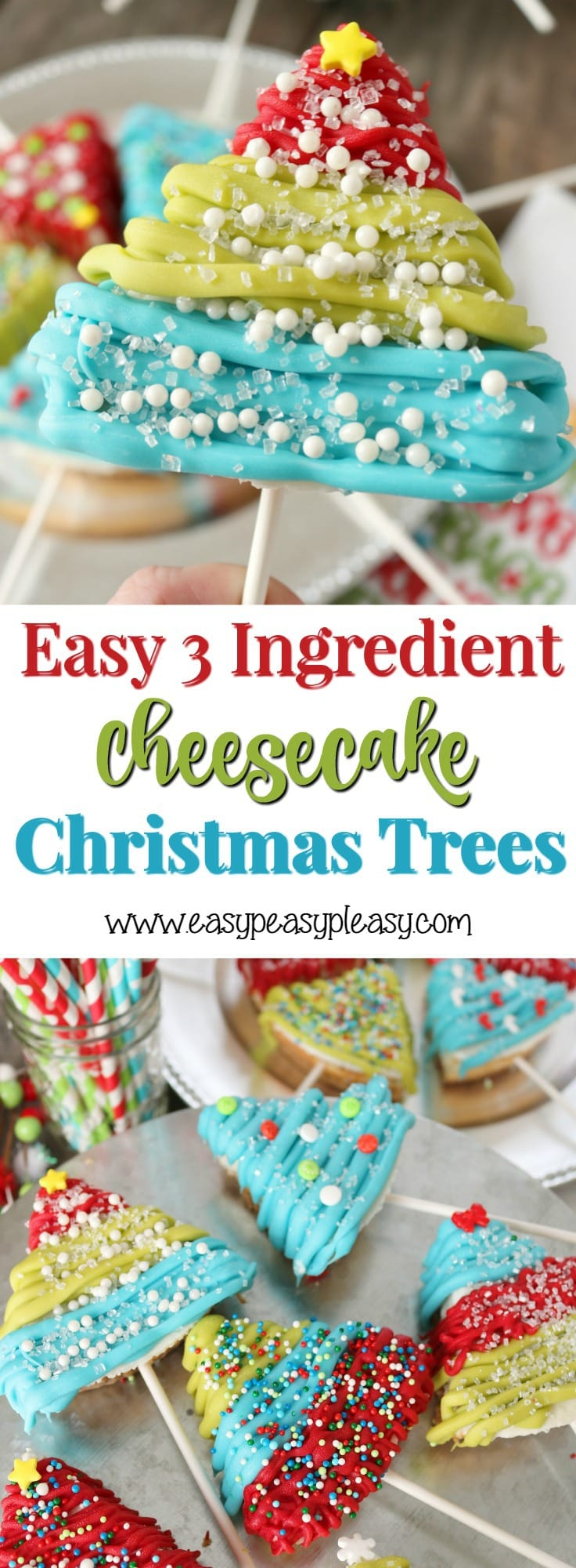 Get the full directions for these Easy 3 Ingredient Cheesecake Christmas Trees at easypeasypleasy.com