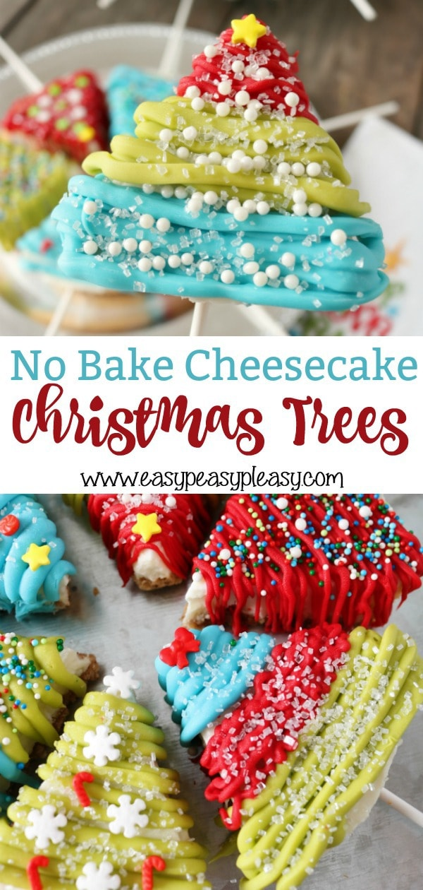 These No Bake Cheesecake Christmas Trees require only 3 main ingredients and are the perfect addition to your Christmas recipes. #christmastreats #christmasrecipe