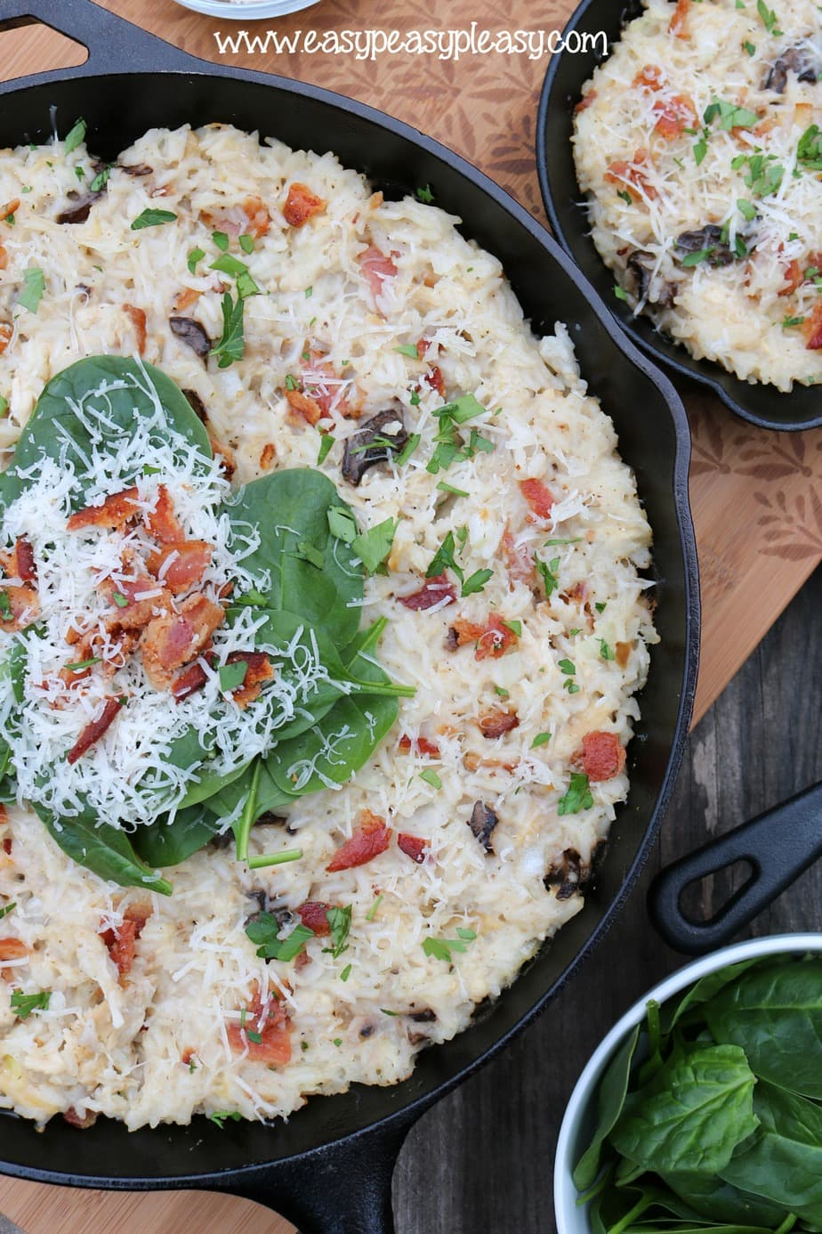 Cheesy Chicken and Bacon Rice Casserole at easypeasypleasy.com