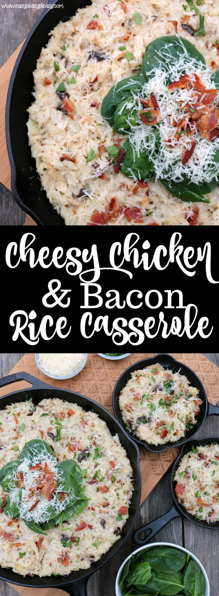 Cheesy Chicken and Bacon Rice Casserole is comfort food perfect!