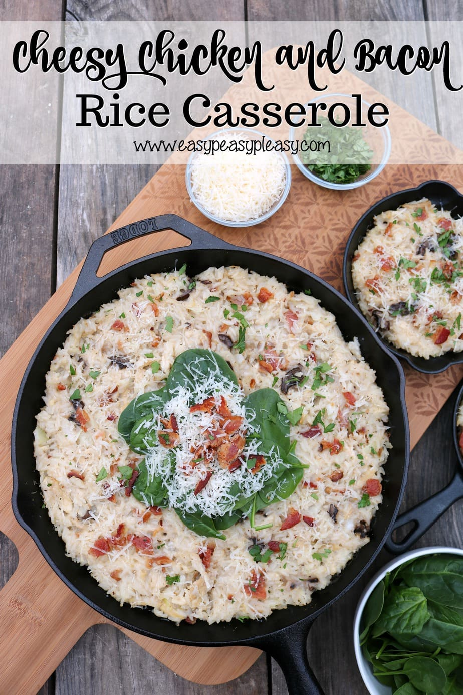 Grab this delicious Cheesy Chicken and Bacon Rice Casserole recipe at easypeasypleasy.com