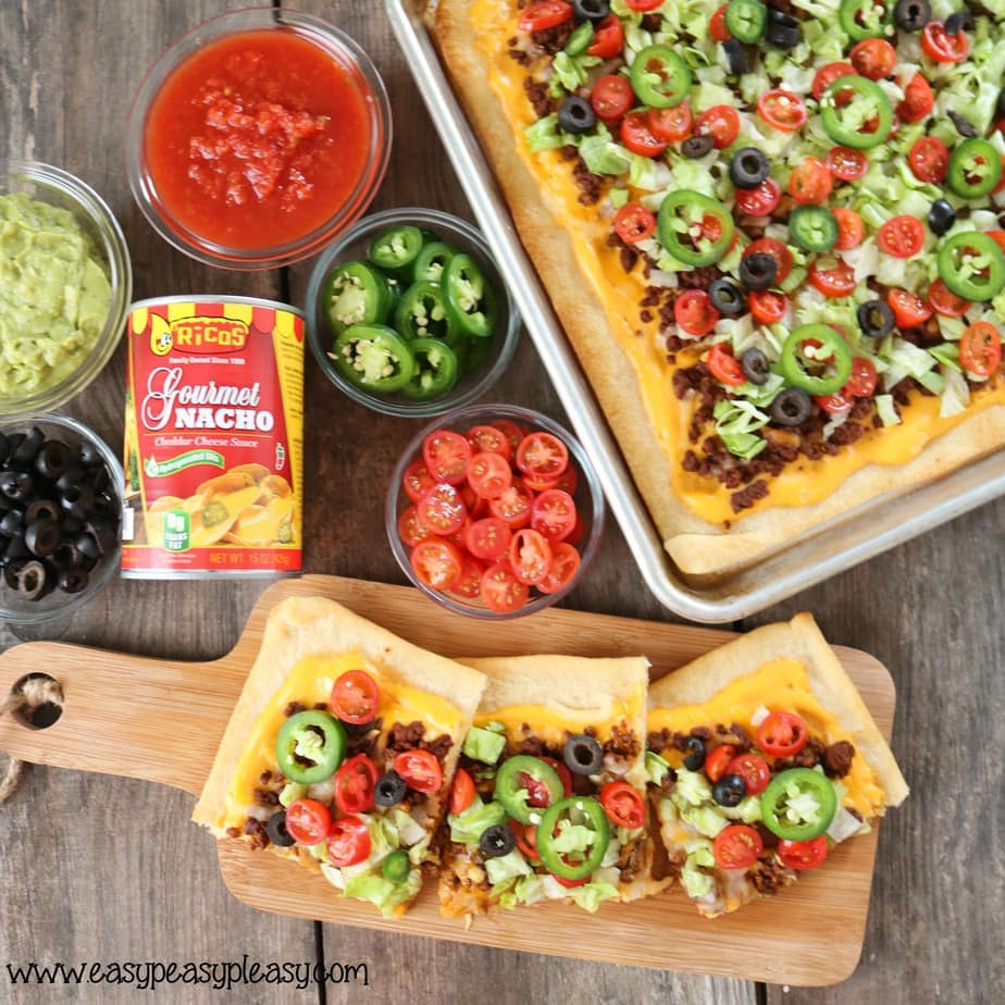 You can pick your toppings but the sauce has to be Ricos for this ultimate sheet pan taco pizza.