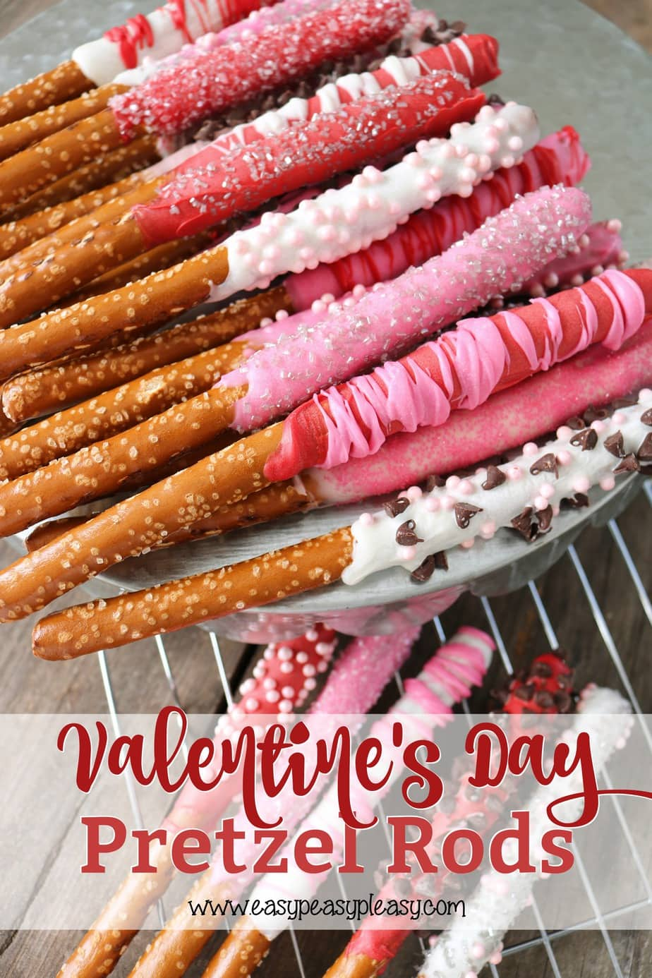 Make Valentine Day Special by making chocolate covered pretzels. It's an easy homemade sweet treat perfect Valentine's Day.