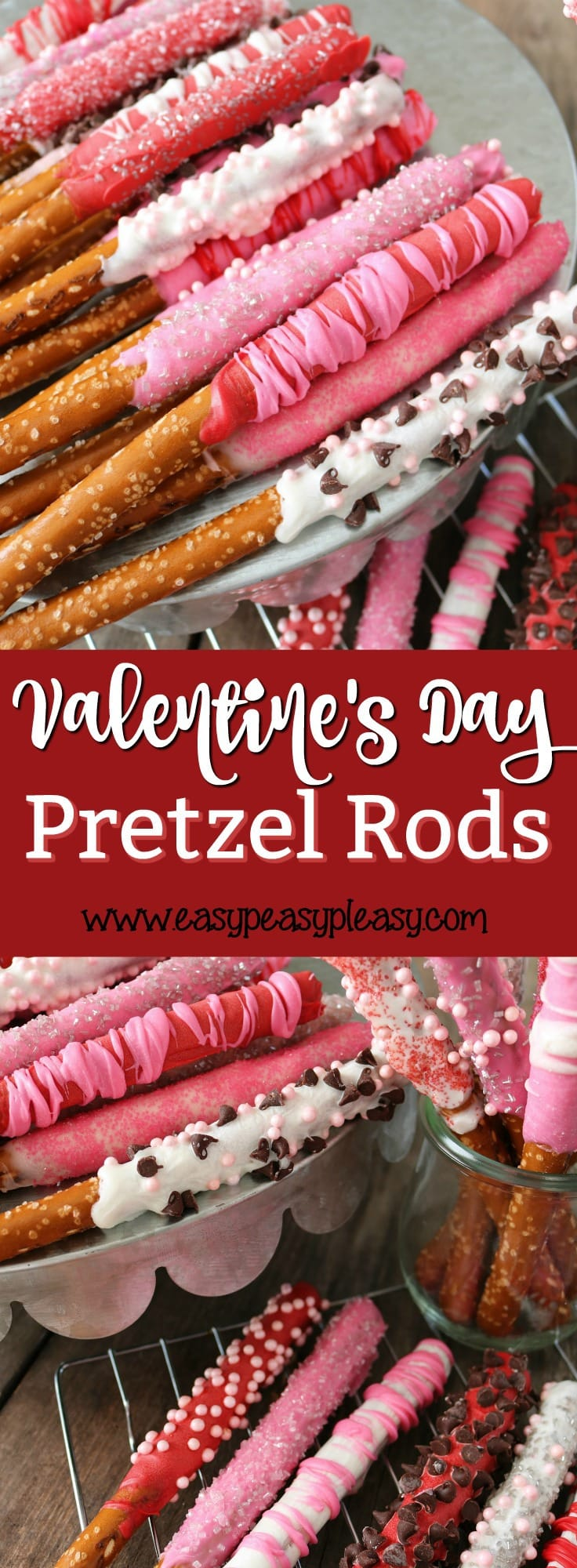 Make Valentine Day Special with easy homemade chocolate covered pretzel rods.