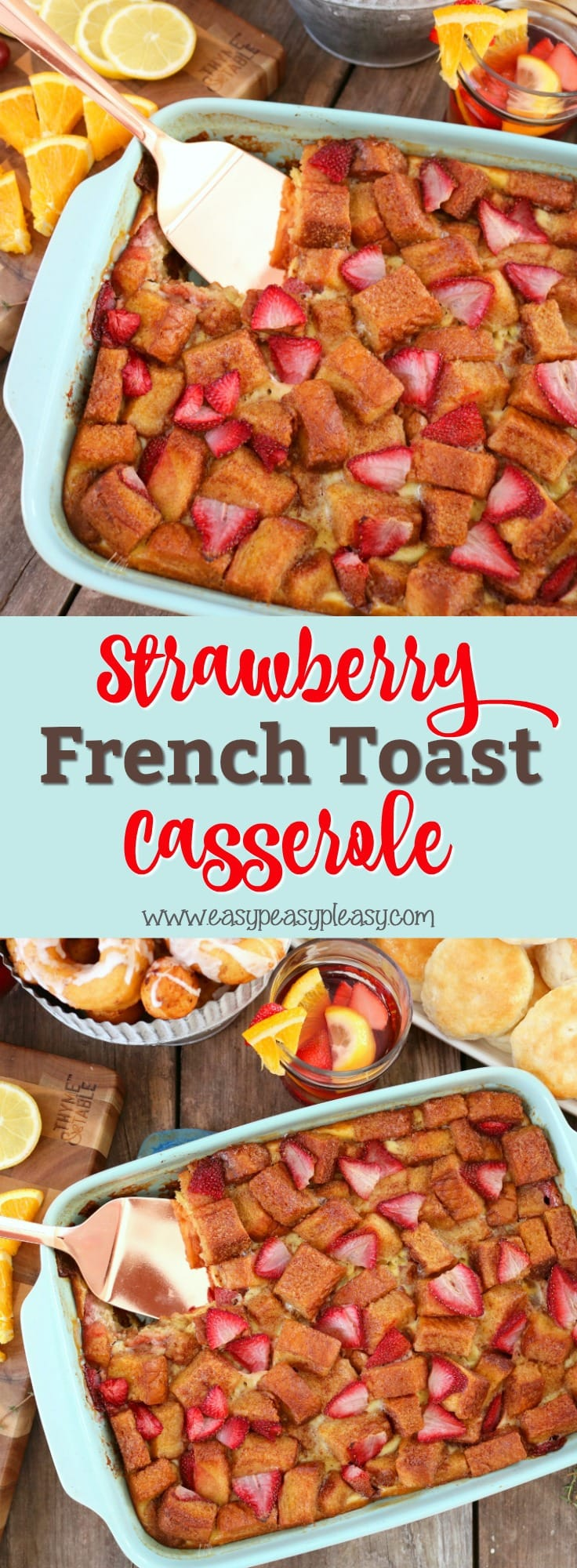 This Strawberry French Toast Casserole is sure to hit the spot. With only 7 ingredients, it comes together in minutes and will be permenant on your brunch and breakfast menu.