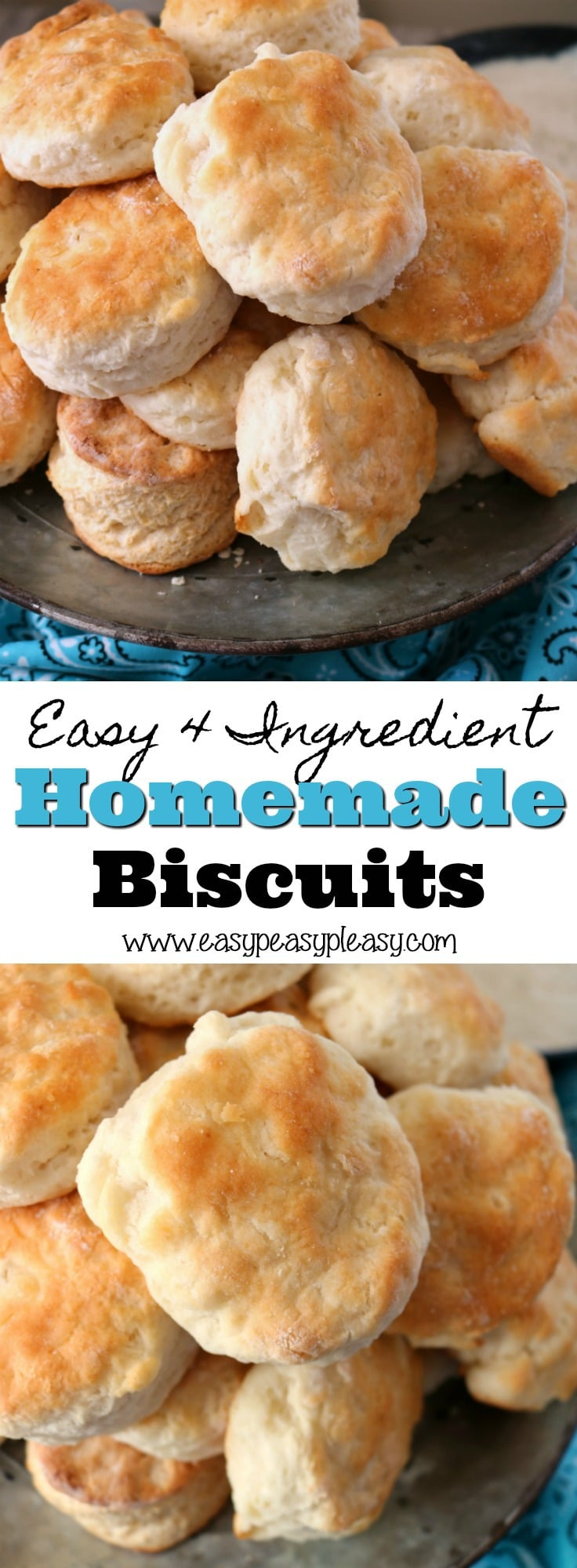 Y'all are going to love these delicious and fluffy homemade biscuits recipe. It only takes 4 ingredients. I've been trying to make a good homemade biscuit for years and Pops finally taught me how.